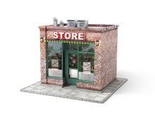 Business concept. Store with empty signboard royalty free illustration
