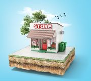 Business concept. Store with glass case on a piece of ground. 3d illustration Royalty Free Stock Photography