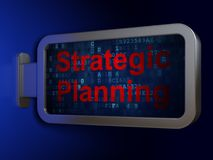 Business concept: Strategic Planning on billboard background. Business concept: Strategic Planning on advertising billboard background, 3D rendering Royalty Free Stock Photo