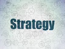 Business concept: Strategy on Digital Data Paper background. Business concept: Painted blue text Strategy on Digital Data Paper background with  Scheme Of Hand Stock Images
