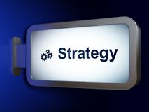 Business concept: Strategy and Gears on billboard background. Business concept: Strategy and Gears on advertising billboard background, 3D rendering Royalty Free Stock Photography