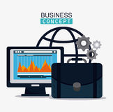 Business concept and strategy icon set. Computer infographic gears and suicase icon. Business financial item and strategy theme. Colorful design. Vector Stock Photo