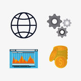 Business concept and strategy icon set. Global website coins and gears icon. Business financial item and strategy theme. Colorful design. Vector illustration Stock Photo