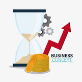 Business concept and strategy icon set. Hourglass coins gears and arrow icon. Business financial item and strategy theme. Colorful design. Vector illustration Stock Images