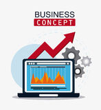 Business concept and strategy icon set. Laptop infographic arrow and gears icon. Business financial item and strategy theme. Colorful design. Vector illustration Royalty Free Stock Photo