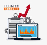 Business concept and strategy icon set. Laptop infographic check list arrow and gears icon. Business financial item and strategy theme. Colorful design. Vector Royalty Free Stock Photo