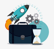 Business concept and strategy icon set. Rocket suitcase gears and hourglass icon. Business financial item and strategy theme. Colorful design. Vector Royalty Free Stock Images