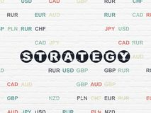 Business concept: Strategy on wall background. Business concept: Painted black text Strategy on White Brick wall background with Currency Royalty Free Stock Photos