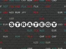 Business concept: Strategy on wall background. Business concept: Painted white text Strategy on Black Brick wall background with Currency, 3d render Royalty Free Stock Photo