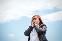 Business concept of success. Frightened Woman chef, in a suit em Royalty Free Stock Images