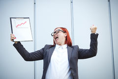 Business concept of success and growth. A successful woman boss, Royalty Free Stock Photography