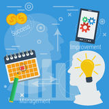 Business concept successful management. Vector Concept Business successful management, improvement, time topay, date, business idea, value proposition Royalty Free Illustration