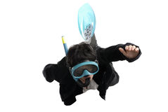 Business concept: swimming woman with mask Royalty Free Stock Photo