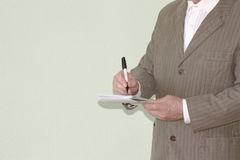 Business concept of the system. Man with a marker Royalty Free Stock Images