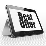 Business concept: Tablet Computer with Best Offer Stock Photo