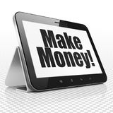 Business concept: Tablet Computer with Make Money! on display Stock Photos