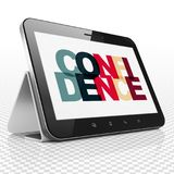 Business concept: Tablet Computer with Confidence on  display. Business concept: Tablet Computer with Painted multicolor text Confidence on display, 3D rendering Royalty Free Stock Image