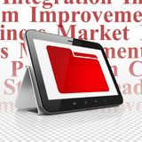 Business concept: Tablet Computer with Folder on display. Business concept: Tablet Computer with  red Folder icon on display,  Tag Cloud background, 3D rendering Stock Photo