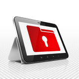 Business concept: Tablet Computer with Folder With Keyhole on display. Business concept: Tablet Computer with  red Folder With Keyhole icon on display,  Binary Royalty Free Stock Images