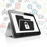 Business concept: Tablet Computer with Folder With Lock on display. Business concept: Tablet Computer with  black Folder With Lock icon on display,  Hand Drawn Royalty Free Stock Image