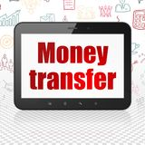 Business concept: Tablet Computer with Money Transfer on display. Business concept: Tablet Computer with  red text Money Transfer on display,  Hand Drawn Royalty Free Stock Images