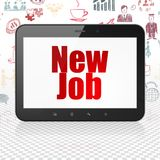 Business concept: Tablet Computer with New Job on display. Business concept: Tablet Computer with  red text New Job on display,  Hand Drawn Business Icons Stock Photo