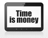 Business concept: Tablet Pc Computer with Time Is money on display. Business concept: Tablet Pc Computer with black text Time Is money on display, 3D rendering Royalty Free Stock Photos