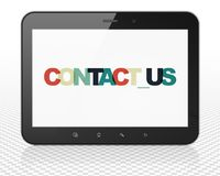 Business concept: Tablet Pc Computer with Contact us on  display. Business concept: Tablet Pc Computer with Painted multicolor text Contact us on display, 3D Royalty Free Stock Photo