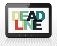 Business concept: Tablet Pc Computer with Deadline on  display. Business concept: Tablet Pc Computer with Painted multicolor text Deadline on display, 3D Stock Image