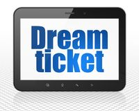 Business concept: Tablet Pc Computer with Dream Ticket on display. Business concept: Tablet Pc Computer with blue text Dream Ticket on display, 3D rendering Royalty Free Stock Photography