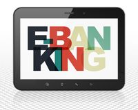Business concept: Tablet Pc Computer with E-Banking on  display. Business concept: Tablet Pc Computer with Painted multicolor text E-Banking on display, 3D Stock Photography