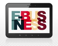 Business concept: Tablet Pc Computer with E-business on  display. Business concept: Tablet Pc Computer with Painted multicolor text E-business on display, 3D Royalty Free Stock Image