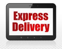 Business concept: Tablet Pc Computer with Express Delivery on display. Business concept: Tablet Pc Computer with red text Express Delivery on display, 3D Royalty Free Stock Photos