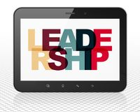 Business concept: Tablet Pc Computer with Leadership on  display. Business concept: Tablet Pc Computer with Painted multicolor text Leadership on display, 3D Royalty Free Stock Photos