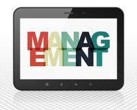Business concept: Tablet Pc Computer with Management on  display. Business concept: Tablet Pc Computer with Painted multicolor text Management on display, 3D Royalty Free Stock Images
