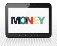 Business concept: Tablet Pc Computer with Money on  display. Business concept: Tablet Pc Computer with Painted multicolor text Money on display, 3D rendering Stock Photography