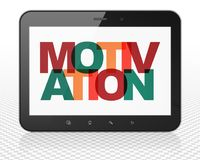 Business concept: Tablet Pc Computer with Motivation on  display. Business concept: Tablet Pc Computer with Painted multicolor text Motivation on display, 3D Royalty Free Stock Photos