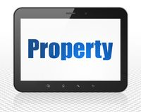 Business concept: Tablet Pc Computer with Property on display. Business concept: Tablet Pc Computer with blue text Property on display, 3D rendering Royalty Free Stock Photos