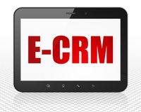 Business concept: Tablet Pc Computer with E-CRM on display. Business concept: Tablet Pc Computer with red text E-CRM on display, 3D rendering Royalty Free Stock Photos