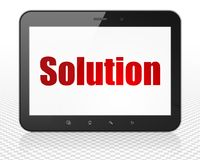 Business concept: Tablet Pc Computer with Solution on display. Business concept: Tablet Pc Computer with red text Solution on display, 3D rendering Stock Images