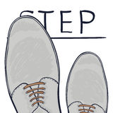 The business concept take the next step. Feet on the road. Make a choice. Vector Royalty Free Stock Photo