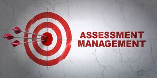 Business concept: target and Assessment Management on wall background. Success business concept: arrows hitting the center of target, Red Assessment Management royalty free stock images