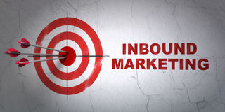 Business concept: target and Inbound Marketing on. Success business concept: arrows hitting the center of target, Red Inbound Marketing on wall background, 3d Royalty Free Stock Image