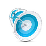 Business concept, target market stategy. Many blue targets and three arrows reaching the center of the first one, image with blur effect, square format stock illustration