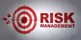 Business concept: target and Risk Management on. Success business concept: arrows hitting the center of target, Red Risk Management on wall background, 3d render Royalty Free Stock Photos