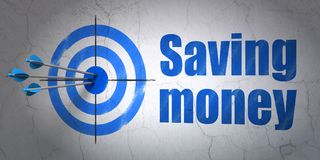 Business concept: target and Saving Money on wall background Royalty Free Stock Image