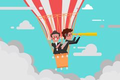 Business Concept, Team leader business flying with a balloon Man Royalty Free Stock Photography