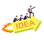 Business concept, team moves to success of work management on big idea Stock Images