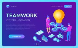 Business concept for teamwork, cooperation, partnership. Creative Idea. Isometric Idea concept. Light bulb with gears royalty free illustration