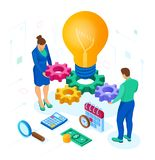 Business concept for teamwork, cooperation, partnership. Creative Idea. Isometric Idea concept. Light bulb with gears. Vector royalty free illustration